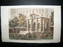 Ackermann 1814 Hand Col Print. Buckingham Stair Water Gate, London